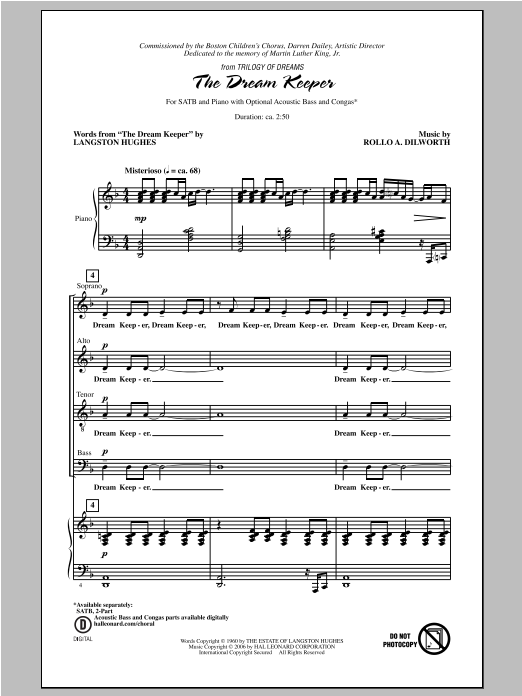 Partition chorale The Dream Keeper de Langston Hughes - SATB