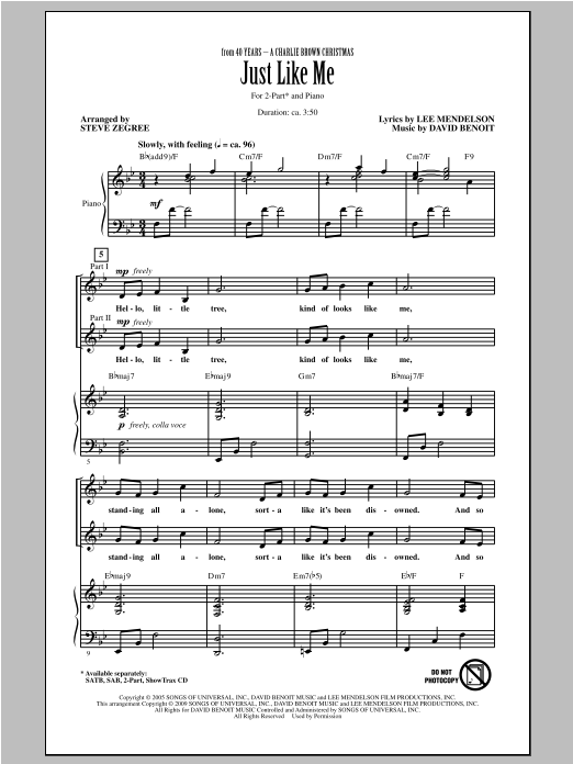 Partition chorale Just Like Me de Vanessa Williams - 2 voix