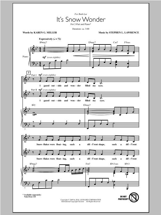 Partition chorale It's Snow Wonder de Stephen Lawrence - 2 voix