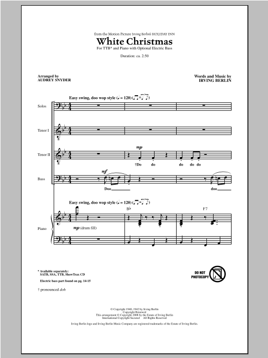 Partition chorale White Christmas de Irving Berlin - TTBB