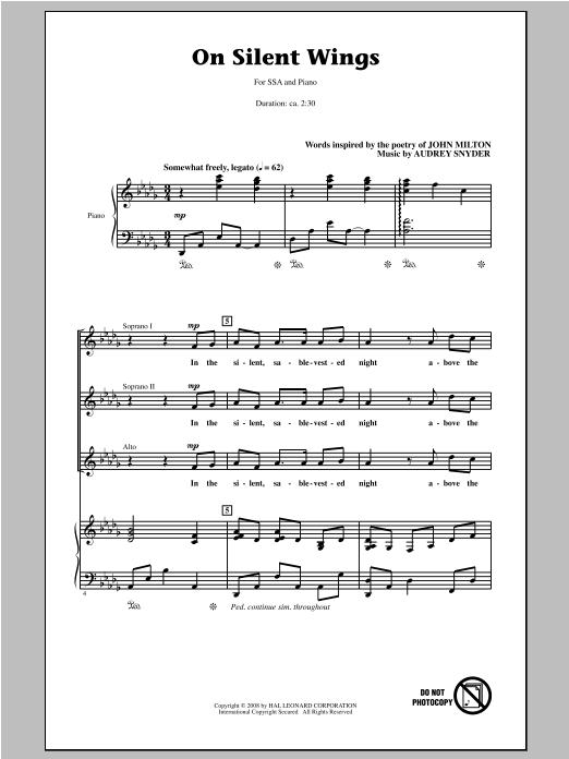 Partition chorale On Silent Wings de Audrey Snyder - SSA
