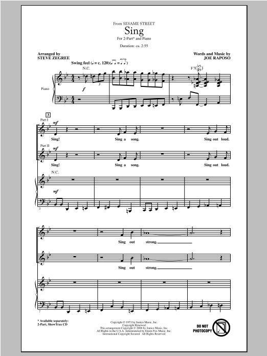 Partition chorale Sing de Steve Zegree - 2 voix