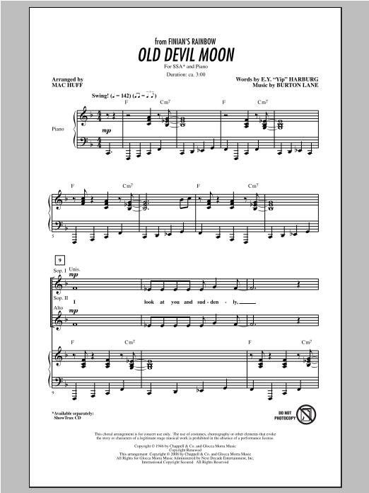 Partition chorale Old Devil Moon de Mac Huff - SSA