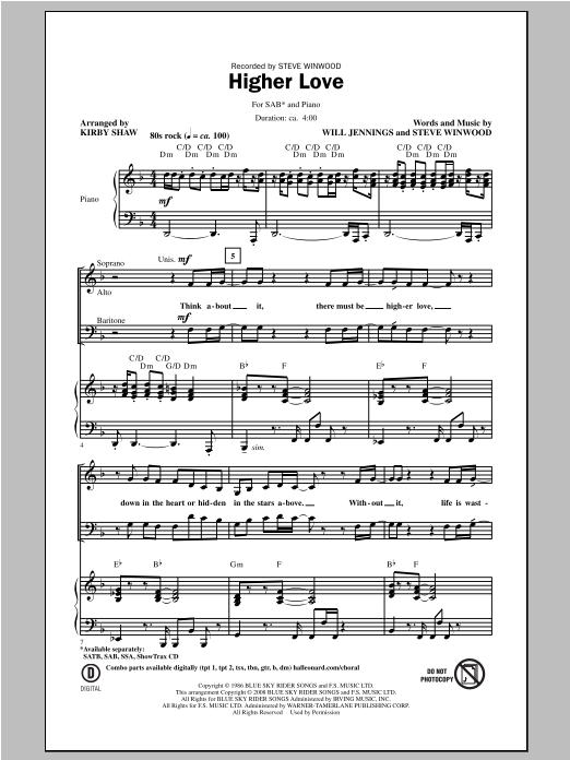Partition chorale Higher Love de Steve Winwood - SAB