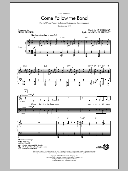 Partition chorale Come Follow The Band de Mark Brymer - SATB