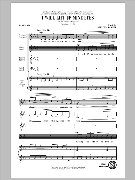 Partition chorale I Will Lift Up Mine Eyes de Stephen Tanner - SATB