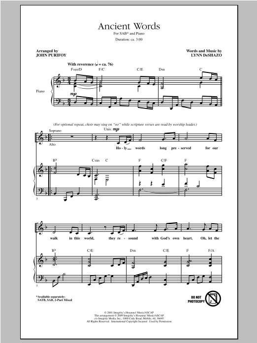 Partition chorale Ancient Words de John Purifoy - SAB