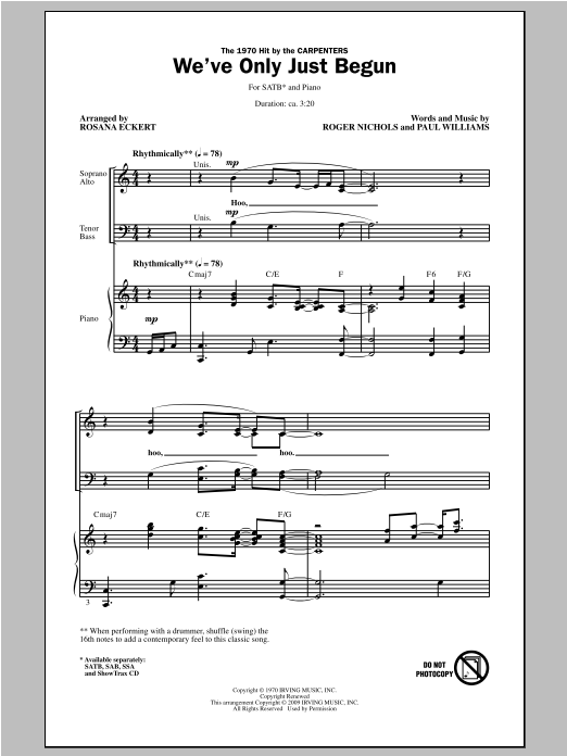 Partition chorale We've Only Just Begun de Rosana Eckert - SATB