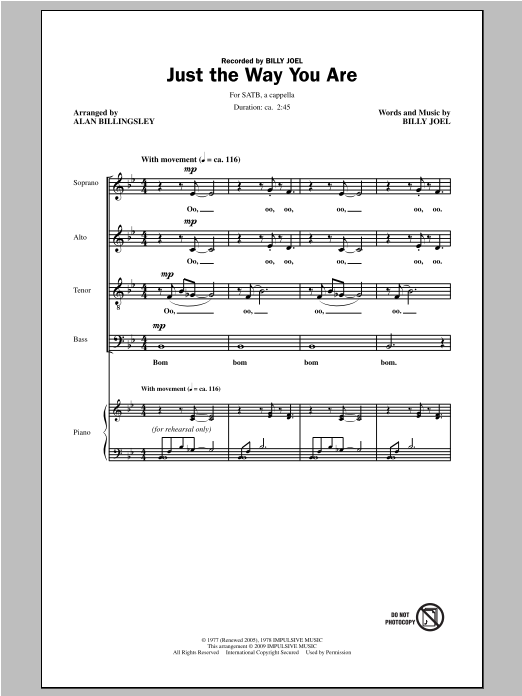 Partition chorale Just The Way You Are de Billy Joel - SATB