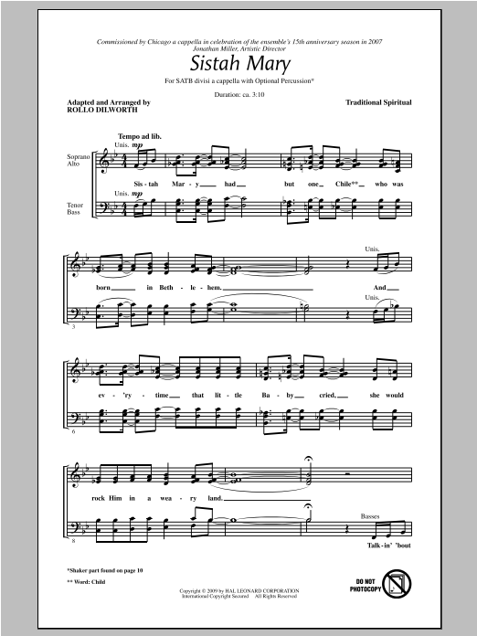 Sistah Mary Sheet Music