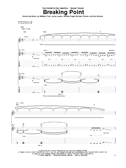 Tablature guitare Breaking Point de Bullet For My Valentine - Tablature Guitare