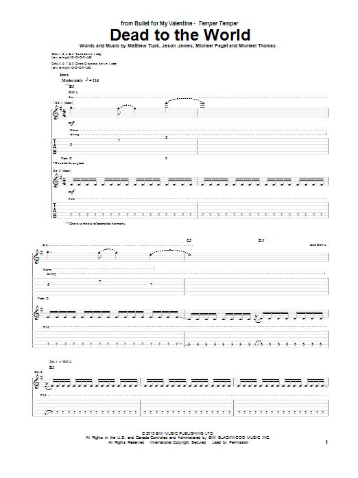 Tablature guitare Dead To The World de Bullet For My Valentine - Tablature Guitare