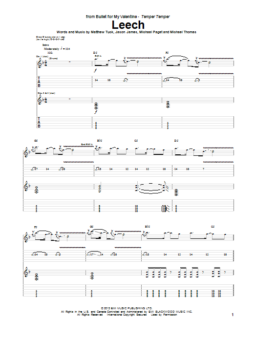 Tablature guitare Leech de Bullet For My Valentine - Tablature Guitare