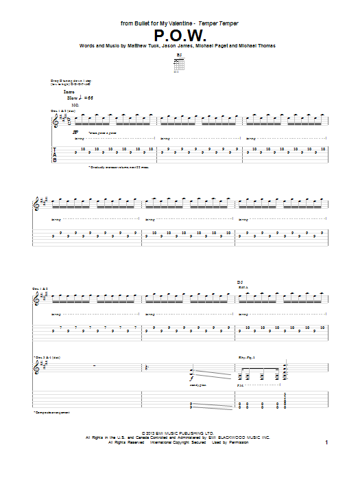 Tablature guitare P.O.W. de Bullet For My Valentine - Tablature Guitare