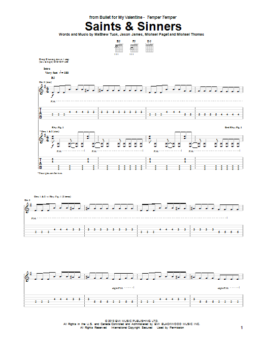 Tablature guitare Saints & Sinners de Bullet For My Valentine - Tablature Guitare