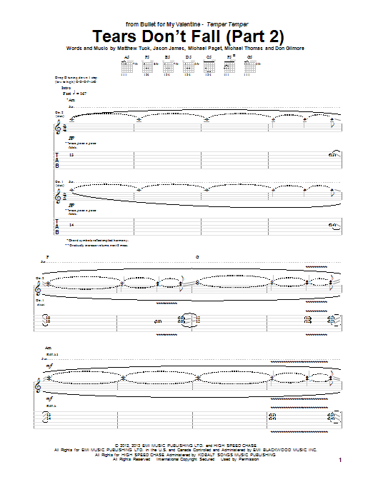 Tablature guitare Tears Don't Fall (Part 2) de Bullet For My Valentine - Tablature Guitare