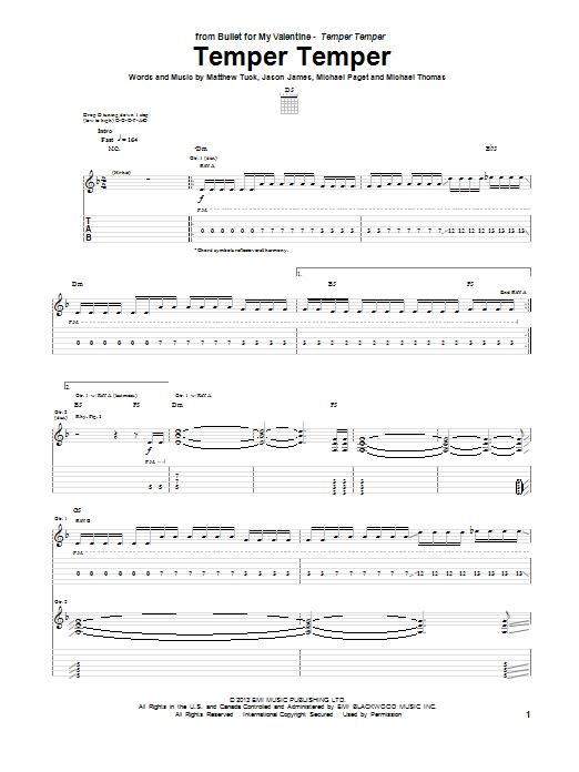 Tablature guitare Temper Temper de Bullet For My Valentine - Tablature Guitare