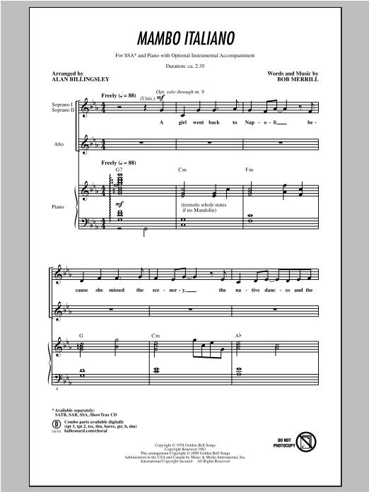 Partition chorale Mambo Italiano de Alan Billingsley - SSA