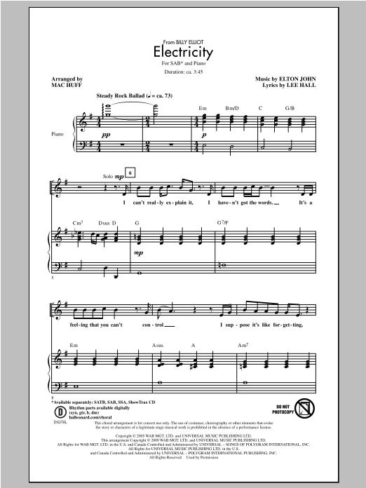 Partition chorale Electricity de Elton John - SAB