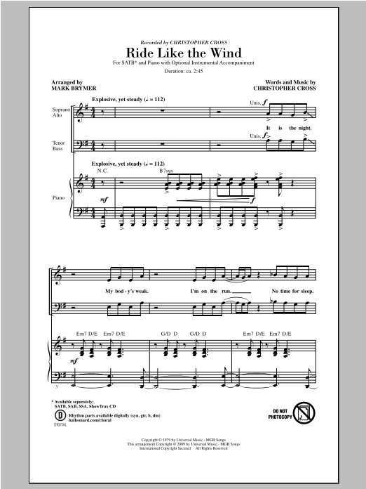 Partition chorale Ride Like The Wind de Christopher Cross - SATB
