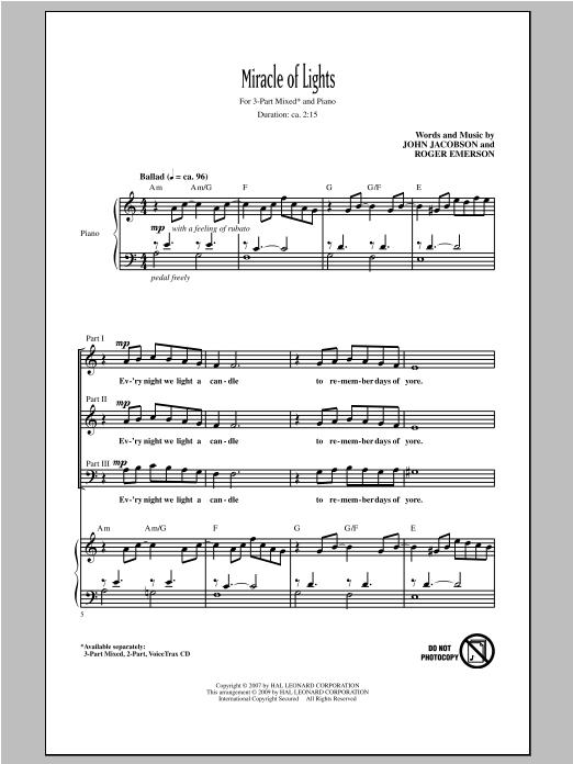 Partition chorale Miracle Of Lights de John Jacobson - 3 voix mixtes