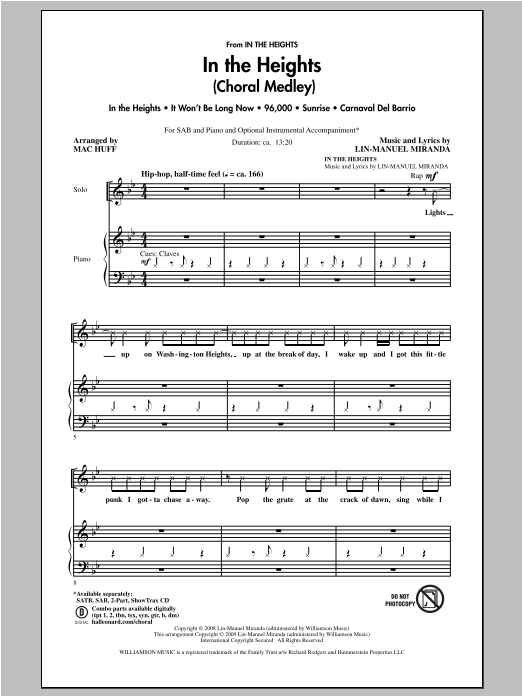 Partition chorale In The Heights (Choral Medley) de In The Heights (Musical) - SAB