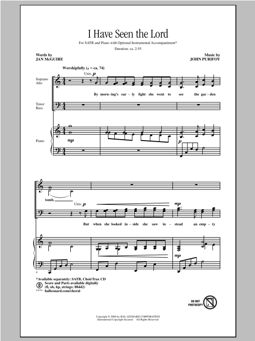 Partition chorale I Have Seen The Lord de Jan McGuire - SATB