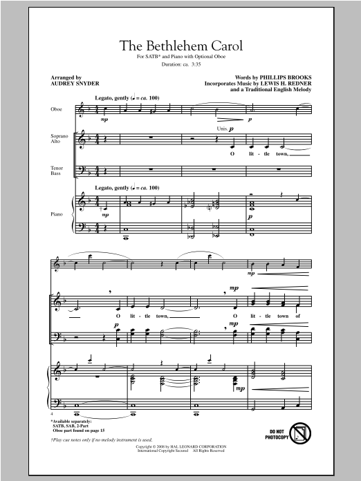 Partition chorale The Bethlehem Carol de Audrey Snyder - SATB