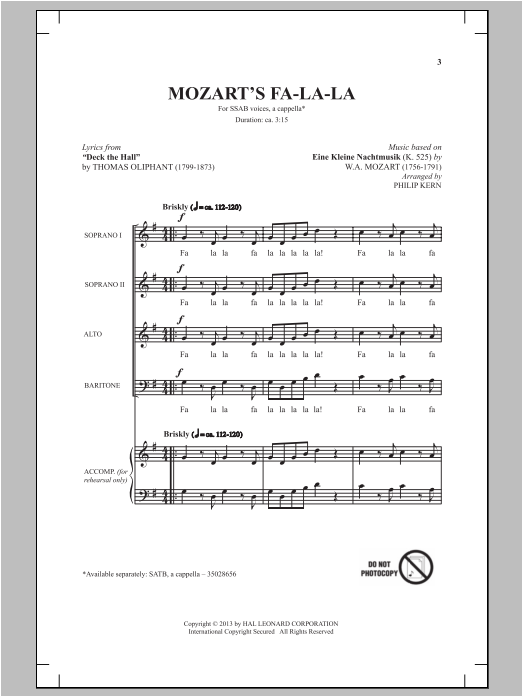 Mozart's Fa-La-La sheet music for choir and piano (SAB) by Philip Kern