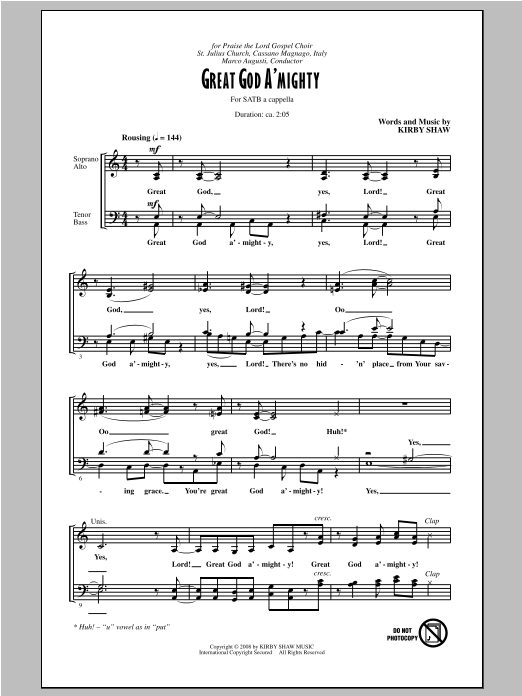 Partition chorale Great God A'Mighty de Kirby Shaw - SATB