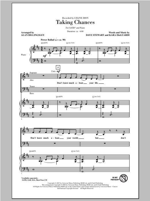 Partition chorale Taking Chances de Celine Dion - SATB