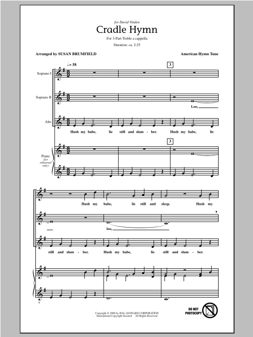 Cradle Hymn Sheet Music