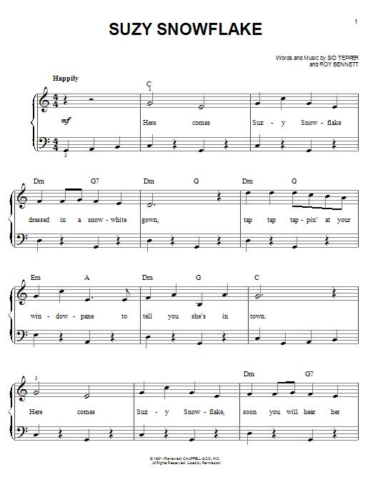 Partition piano Suzy Snowflake de Sid Tepper - Piano Facile