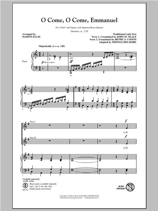 Partition chorale O Come, O Come, Emmanuel de Martin Ellis - 2 voix