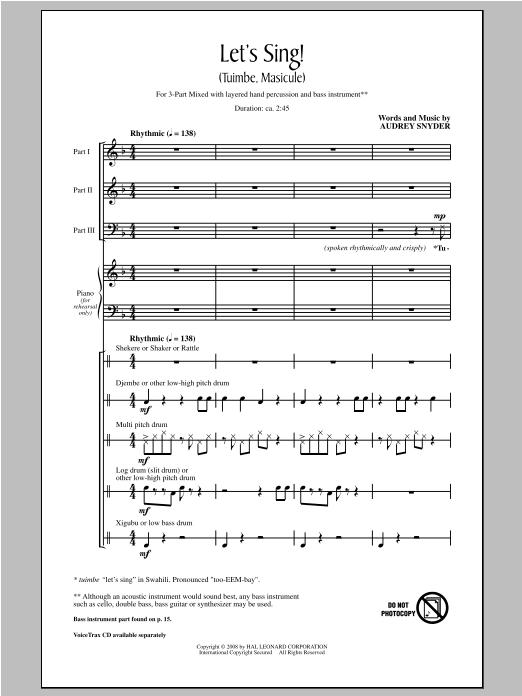 Partition chorale Let's Sing (Tuimbe, Masicule) de Audrey Snyder - 3 voix mixtes
