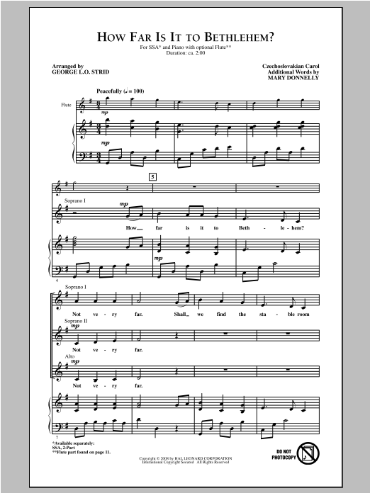 Partition chorale How Far Is It To Bethlehem? de Mary Donnelly - SSA