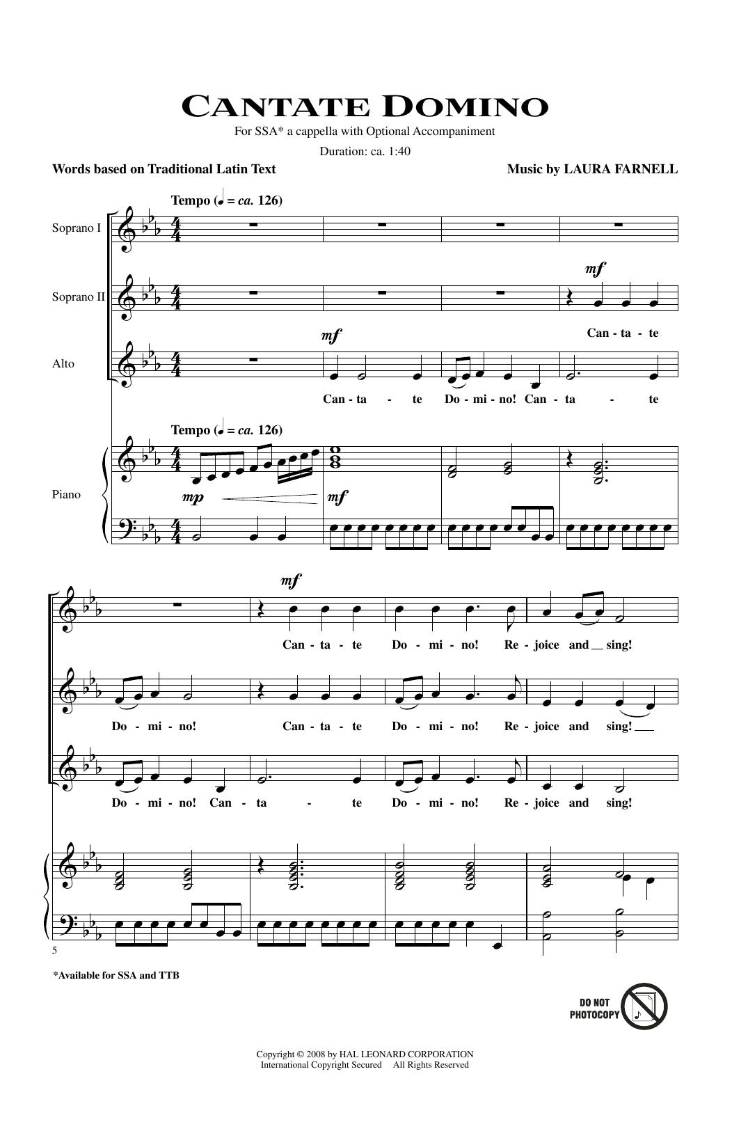 Partition chorale Cantate Domino de Laura Farnell - SSA