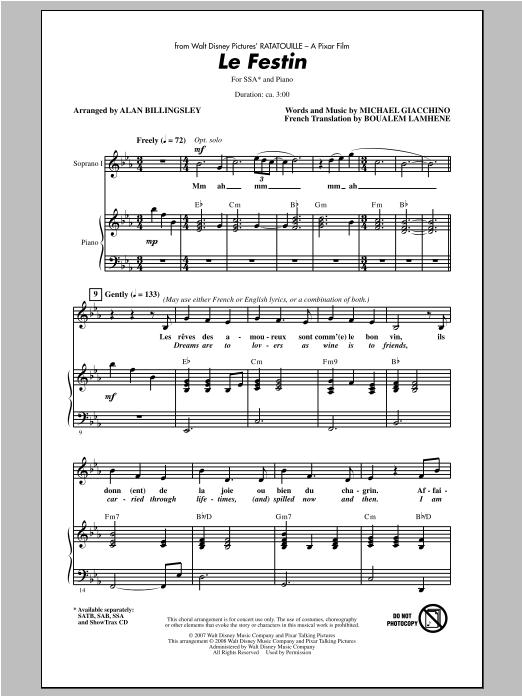 Partition chorale Le Festin de Alan Billingsley - SSA