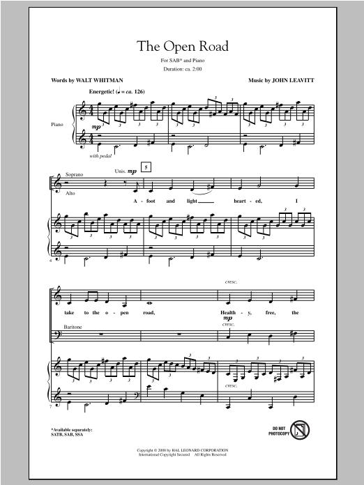 Partition chorale The Open Road de John Leavitt - SAB