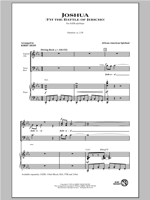 Partition chorale Joshua (Fit The Battle Of Jericho) de Kirby Shaw - SATB