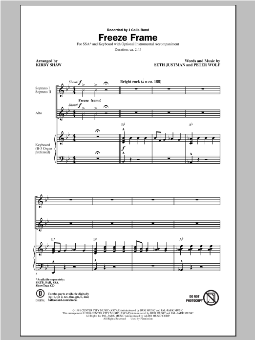 Partition chorale Freeze Frame de Kirby Shaw - SSA