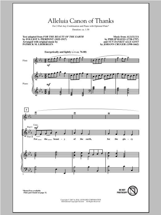 Partition chorale Alleluia Canon Of Thanks de Patrick Liebergen - 2 voix