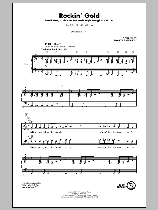 Rockin' Gold (Medley) sheet music for choir and piano (chamber ensemble) by Roger Emerson