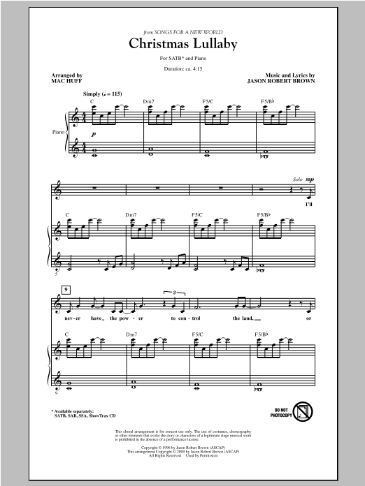 Partition chorale Christmas Lullaby de Mac Huff - SATB