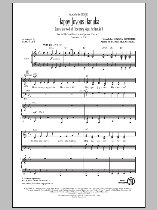 Partition chorale Happy Joyous Hanuka de Klezmatics - SATB