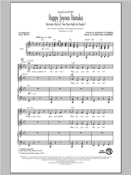Partition chorale Happy Joyous Hanuka de Klezmatics - 2 voix
