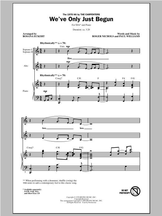 Partition chorale We've Only Just Begun de Rosana Eckert - SSA