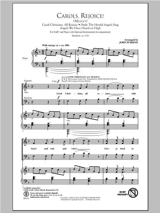 Partition chorale Angels We Have Heard On High de John Purifoy - SAB