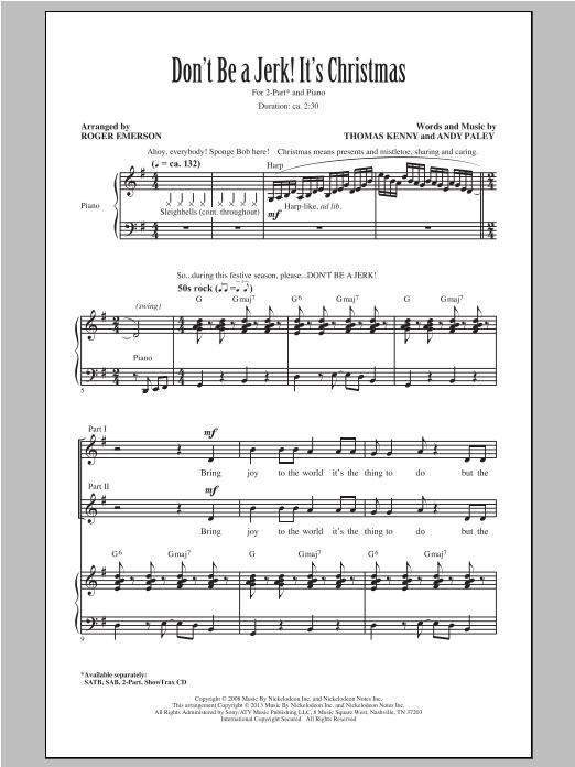 Partition chorale Don't Be A Jerk It's Christmas de SpongeBob SquarePants - 2 voix