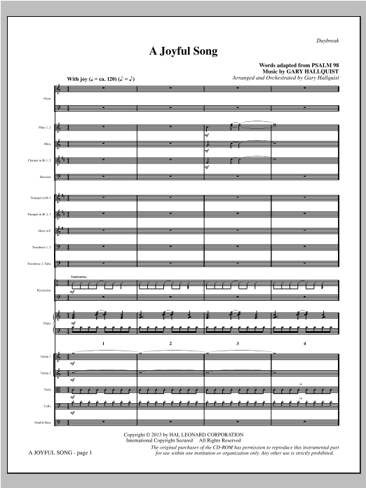 A Joyful Song (COMPLETE) sheet music for orchestra/band by Gary Hallquist